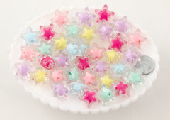 Pastel Star Beads - 20mm Bright Pastel Clear Shooting Star Resin or Acrylic Beads - 20 pc set