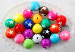 Chunky Beads - 20mm Star Print Inlaid Star Chunky Gumball Bubblegum Resin Beads - Mixed Colors - 12 pc set