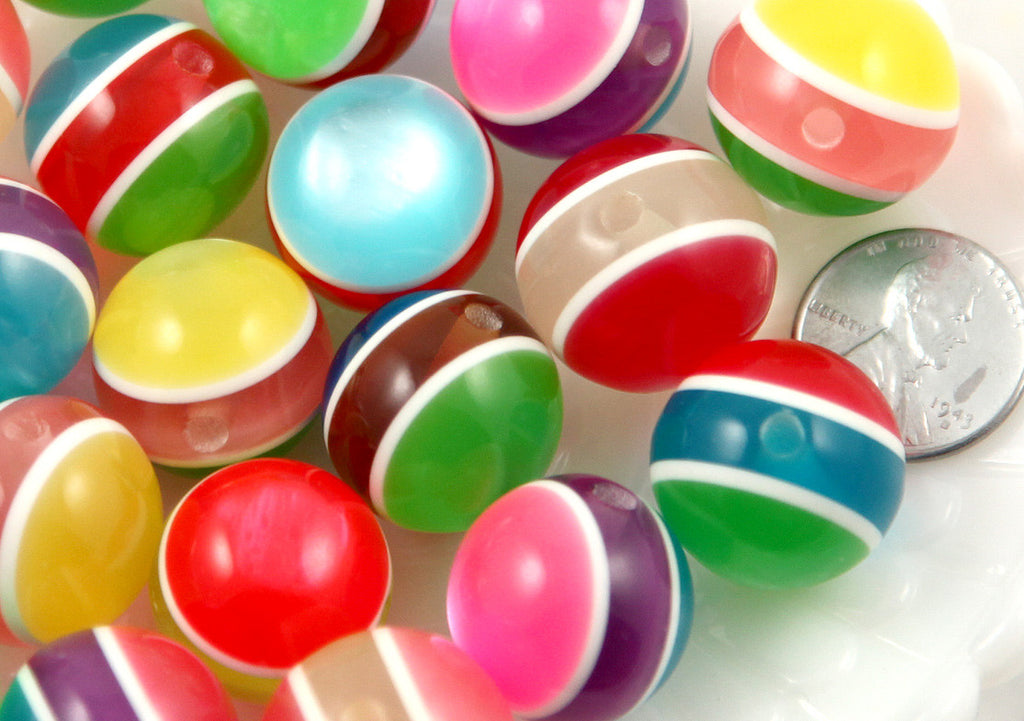 20mm Colorful Chunky Moonglow Stripe Juicy Candy Color Gumball Bubblegum Acrylic or Resin Beads - 8 pc set