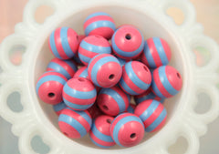 20mm Blue and Bright Pink Chunky Stripe Gumball Bubblegum Acrylic or Resin Beads - 8 pc set