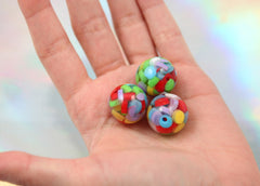 20mm Colorful Rainbow Bubblegum Jello Chunky Resin Beads - 8 pc set