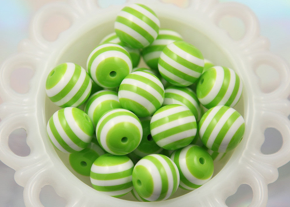 20mm Lime or Light Green and White Stripe Chunky Acrylic or Resin Beads - 8 pc set