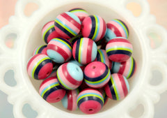 20mm Multi Color Navy Blue Light Blue and Pink Chunky Stripe Gumball Bubblegum Acrylic or Resin Beads - 8 pc set