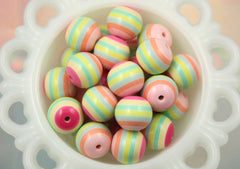 20mm Pastel Girly Mix Pink Yellow and Green Chunky Stripe Gumball Bubblegum Acrylic or Resin Beads - 8 pc set