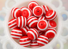 20mm Red and White Stripe Resin Beads - 8 pc set