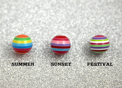 20mm Happy Striped Mix Resin Beads - 9 pc set