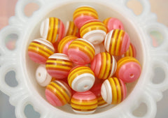 20mm Pink White and Yellow Chunky Transparent Clear Stripe Gumball Bubblegum Acrylic or Resin Beads - 8 pc set