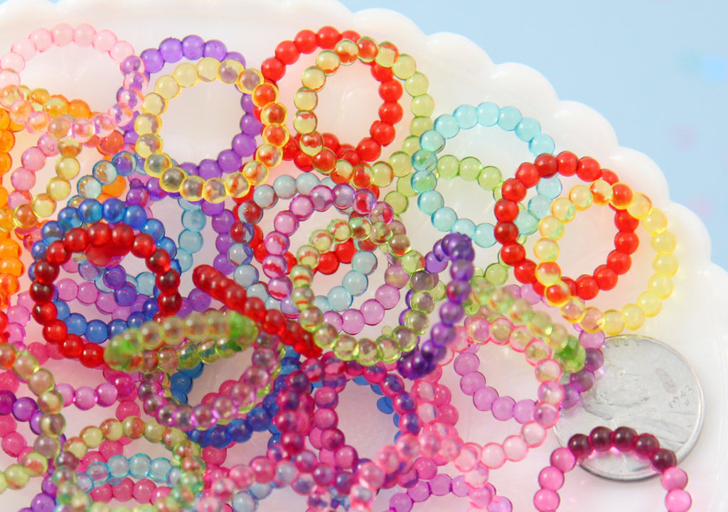 Ring Charms - 20mm Colorful Rings Charms Plastic or Acrylic Beads - 100 pcs set