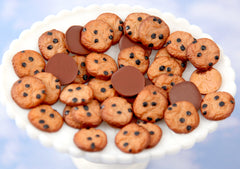 Fake Cookies - 20mm Small Fake Chocolate Chip Cookies Flatback Resin Cabochons - 6 pc set
