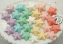 20mm Beautiful Pastel Puffy Star Flatback Resin Cabochon - Pink, Peach, Yellow, White, Mint Green, Light Blue, Purple - 14 pcs set