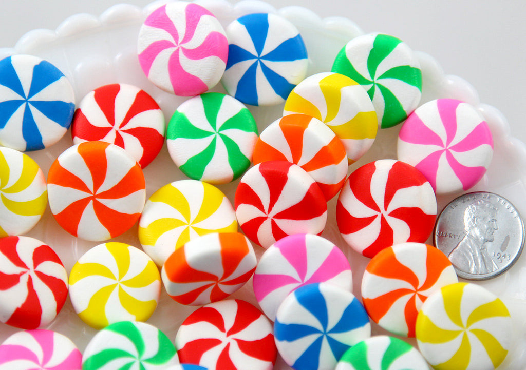 20mm Big Chunky Peppermint Swirl Candy Drop Clay or Resin Cabochons - 6 pcs set