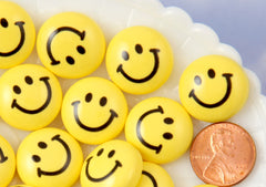 Happy Face Cabochons - 20mm Yellow Happy Face Smile Face Acrylic or Resin Flatback Cabochons - 6 pc set