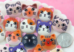 Cat Cabochon - 20mm Adorable Cats Flat Backs - 10 Different Styles - Kitty Flat Back Resin Cabochons - 10 pc set