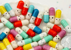20mm Little Capsule with Blank Paper Inside Happy Pills Tiny Fake Plastic or Resin Cabochons - 15 pc set