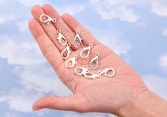 Lobster Clasps - 21mm Zinc Alloy Silver Color Plated Lobster Clasps - Nickel Free & Lead Free - 15 pc set