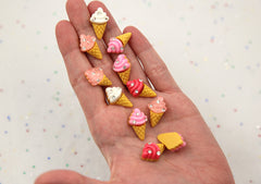 21mm Little Rhinestone Soft Serve Ice Cream Sugar Cones Flatback Resin Cabochons - 8 pcs set