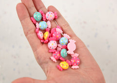 20mm Little Polka Dot Candy Shape Resin Flatback Cabochons - Pink, Yellow, Blue - 10 pc set