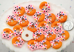 20mm Kawaii Cat Shaped Donut Kitty Flatback Resin Cabochon - 6 pcs set