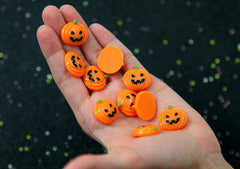 Halloween Cabochon - Pumpkin Jack-o-lantern Acrylic or Resin Cabochons - 8 pc set