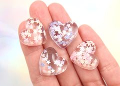 20mm Lovely Magical Pastel Confetti Hearts Resin Cabochons - 6 pc set