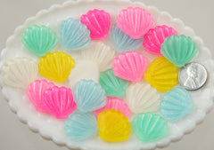 25mm Shimmer Pastel Mermaid Shell Scallop Resin Flatback Cabochons - 6 pc set