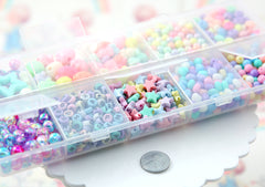 Pastel Beads - Lovely Pastel Colored Bead Kit - 1000+ beads in a Snap Compartment Carry Case