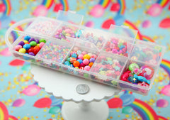 Rainbow Beads - Super Bright Rainbow Colored Bead Kit - 1000+ beads in a Snap Compartment Carry Case