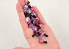 22mm Cute Glitter Nail Polish Bottles Flatback Resin Cabochons - 10 pc set