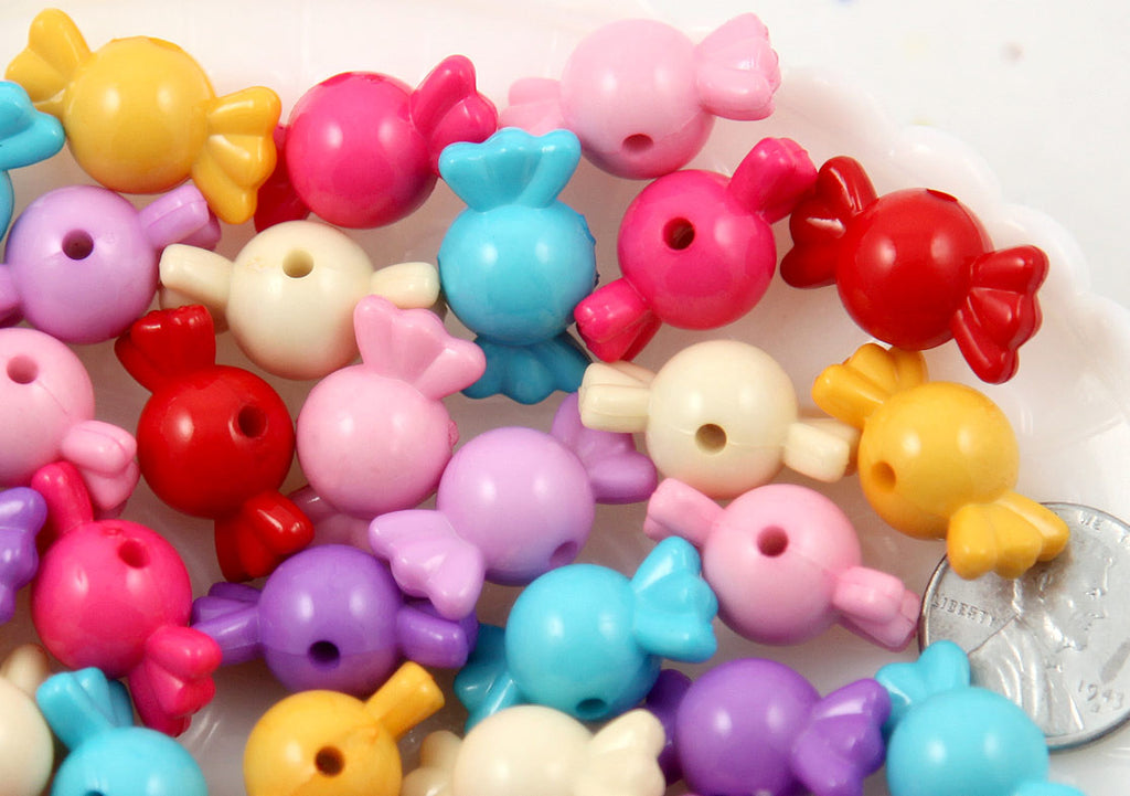 22mm Small Opaque Bright Color Candy Shape Acrylic or Resin Beads - 50 pc set