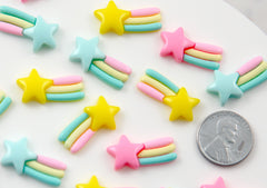 Kawaii Cabochons - 22mm Pastel Shooting Star Rainbow Flatback Resin Cabochon - 9 pcs set