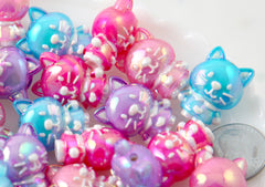 Cat Beads - 22mm Cute AB Cat Bead Colorful Chunky Acrylic or Plastic Beads - 8 pc set