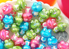 Kawaii Animal Beads - 22mm Cute AB Frog Bead Chunky Acrylic or Plastic Beads - 9 pc set