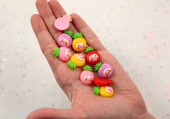 22mm Kawaii Pineapple Tropical Fruit Resin Flatback Cabochons - 8 pc set