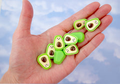 Kawaii Cabochons - 22mm Happy Avocado Flatback Resin Cabochons - 6 pc set