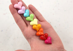 22mm Colorful Opaque Chunky Heart Resin or Acrylic Beads - 40 pc set