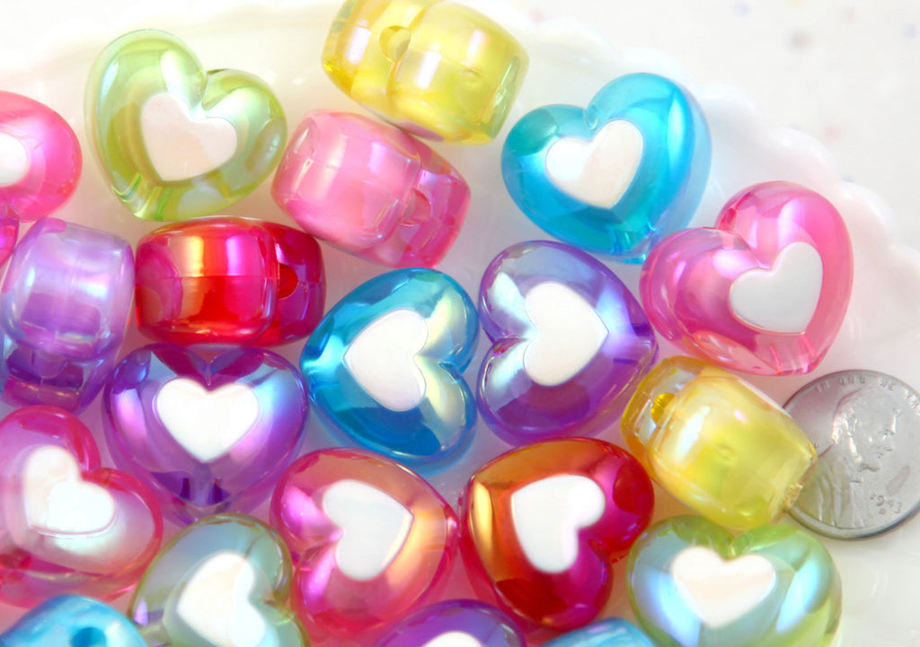 Heart Beads - 22mm Amazing AB Translucent Double Heart Acrylic or Resin Beads - 12 pcs set