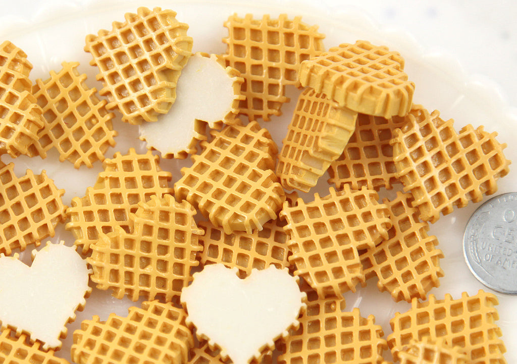 22mm Heart Shaped Waffle Sweet Breakfast Food Flatback Resin or Acrylic Cabochons - 7 pc set