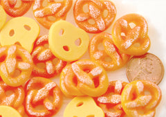 Kawaii Fake Food Charms - 20mm Pretzel Flatback Resin Cabochons - 6 pc set