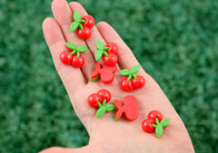20mm Super Cute Red Cherries Fruit Flatback Cherry Resin Cabochons – 6 pc set