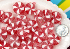 20mm Sugar Coated Swirly Plastic Red Peppermint Charms or Resin Pendants - 8 pc set
