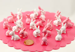 Bunny Miniatures - 22mm Tiny Adorable Miniature Rabbit Figurine - Little Toy Bunny 3d Mini Plastic Decorations Resin Cabochons - 6 pc set