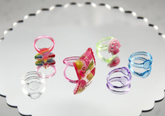 22mm Colorful Dainty Resin Ring Bases or Blank Rings - Made of Super High-Quality Transparent Acrylic Plastic - 12 pcs set