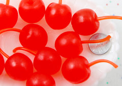 Fake Fruit - 45mm Big Fake Cherries Soft Squishy Silicone Cherry or Resin Cabochons - 4 pc set