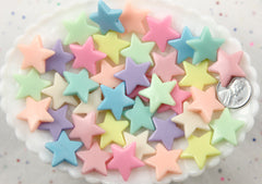 22mm Beautiful Bright Pastel Star Acrylic or Resin Beads - 30 pcs set