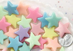 22mm Beautiful Bright Pastel Star Acrylic or Resin Beads - 50 pcs set