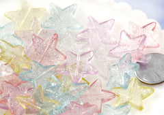 Kawaii Beads - 22mm Pretty Pastel Glitter Plastic Star Beads - 30 pc set