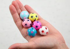 Chunky Beads - 22mm Star Print Inlaid Star Chunky Gumball Bubblegum Resin Beads - Mixed Colors - 6 pc set