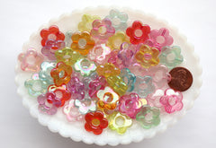 Flower Beads - 18mm AB Transparent Outline Flower Frame Iridescent Color Plastic Acrylic or Resin Beads – 80 pc set