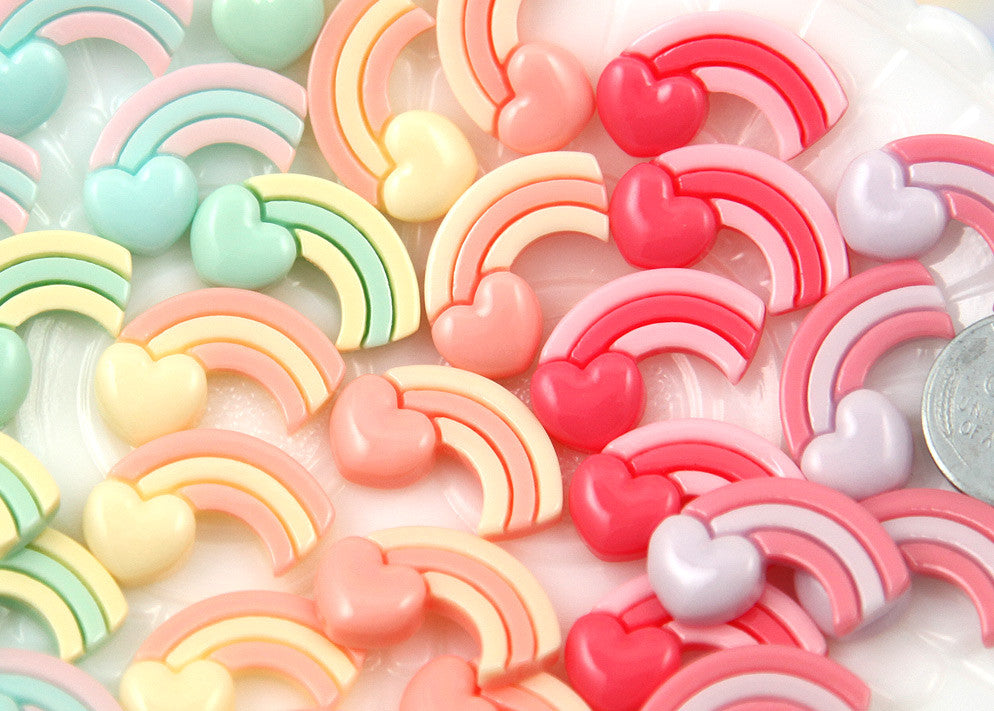 23mm Adorable Pastel Rainbow Heart Resin Flatback Cabochons - 6 pc set
