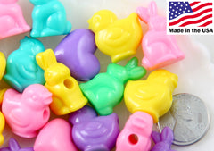 Easter Beads - 25mm Pastel Bunnies Chicks and Hearts Easter Mix Plastic Acrylic or Resin Beads - Approx 60 pc set